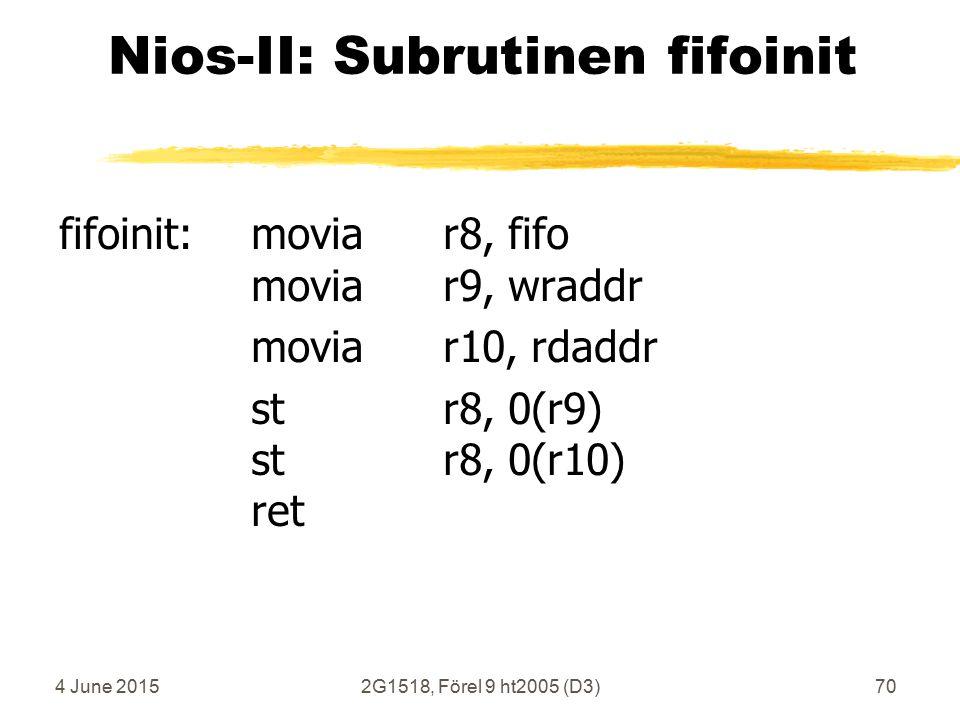 4 June 20152G1518, Förel 9 ht2005 (D3)70 Nios-II: Subrutinen fifoinit fifoinit:moviar8, fifo moviar9, wraddr moviar10, rdaddr str8, 0(r9) str8, 0(r10) ret