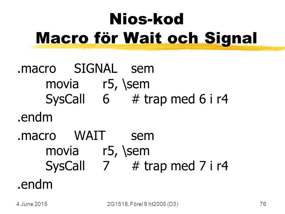 4 June 20152G1518, Förel 9 ht2005 (D3)76 Nios-kod Macro för Wait och Signal.macroSIGNALsem moviar5, \sem SysCall6# trap med 6 i r4.endm.macroWAITsem moviar5, \sem SysCall7# trap med 7 i r4.endm