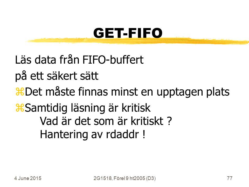 4 June 20152G1518, Förel 9 ht2005 (D3)77 GET-FIFO Läs data från FIFO-buffert på ett säkert sätt zDet måste finnas minst en upptagen plats zSamtidig läsning är kritisk Vad är det som är kritiskt .