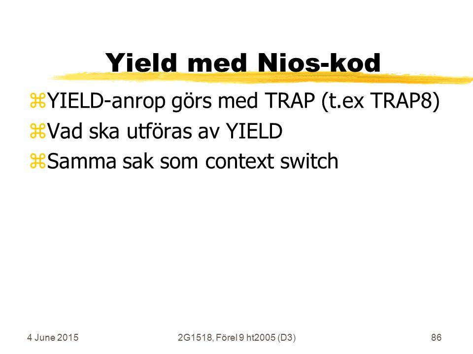 4 June 20152G1518, Förel 9 ht2005 (D3)86 Yield med Nios-kod zYIELD-anrop görs med TRAP (t.ex TRAP8) zVad ska utföras av YIELD zSamma sak som context switch