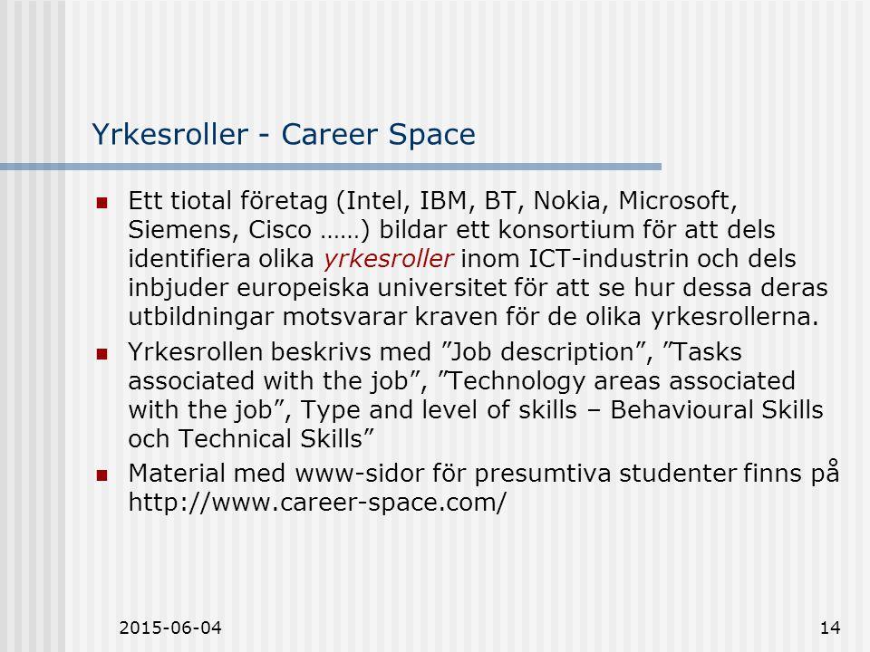 2015-06-0414 Yrkesroller - Career Space Ett tiotal företag (Intel, IBM, BT, Nokia, Microsoft, Siemens, Cisco ……) bildar ett konsortium för att dels identifiera olika yrkesroller inom ICT-industrin och dels inbjuder europeiska universitet för att se hur dessa deras utbildningar motsvarar kraven för de olika yrkesrollerna.
