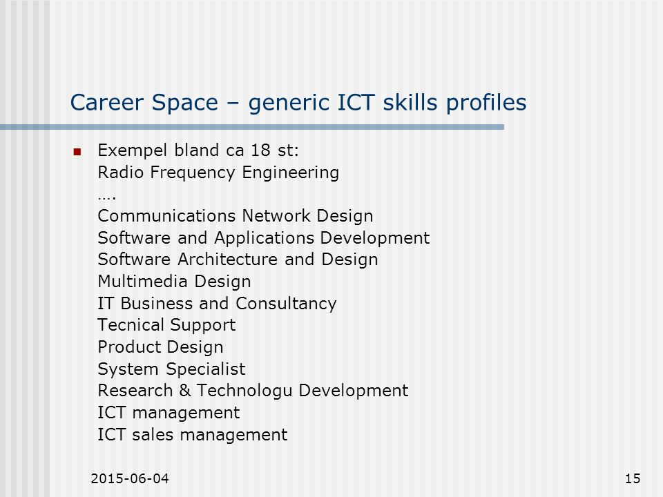 2015-06-0415 Career Space – generic ICT skills profiles Exempel bland ca 18 st: Radio Frequency Engineering ….