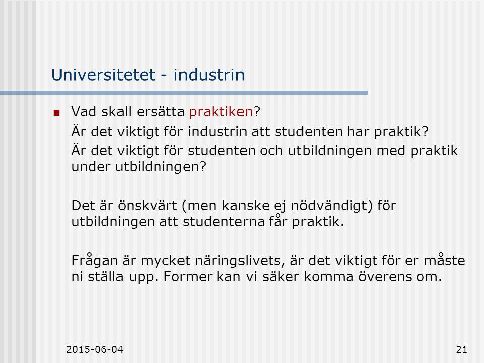 2015-06-0421 Universitetet - industrin Vad skall ersätta praktiken.