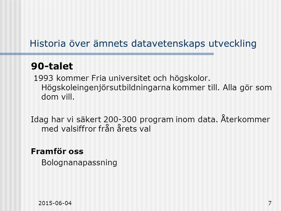 2015-06-047 Historia över ämnets datavetenskaps utveckling 90-talet 1993 kommer Fria universitet och högskolor.