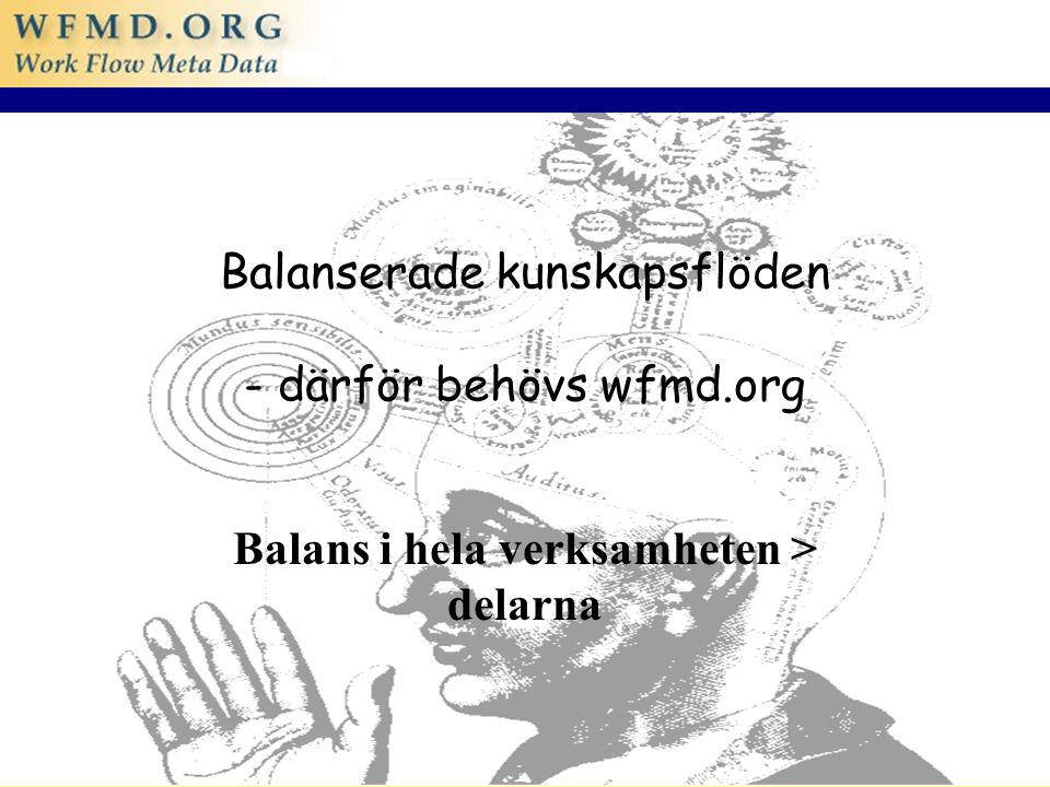 04/06/2015 1 Balanserade kunskapsflöden - därför behövs wfmd.org Balans i hela verksamheten > delarna