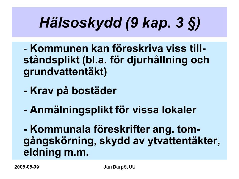 2005-05-09Jan Darpö, UU Hälsoskydd (9 kap. 3 §) - Kommunen kan föreskriva viss till- ståndsplikt (bl.a. för djurhållning och grundvattentäkt) - Krav p