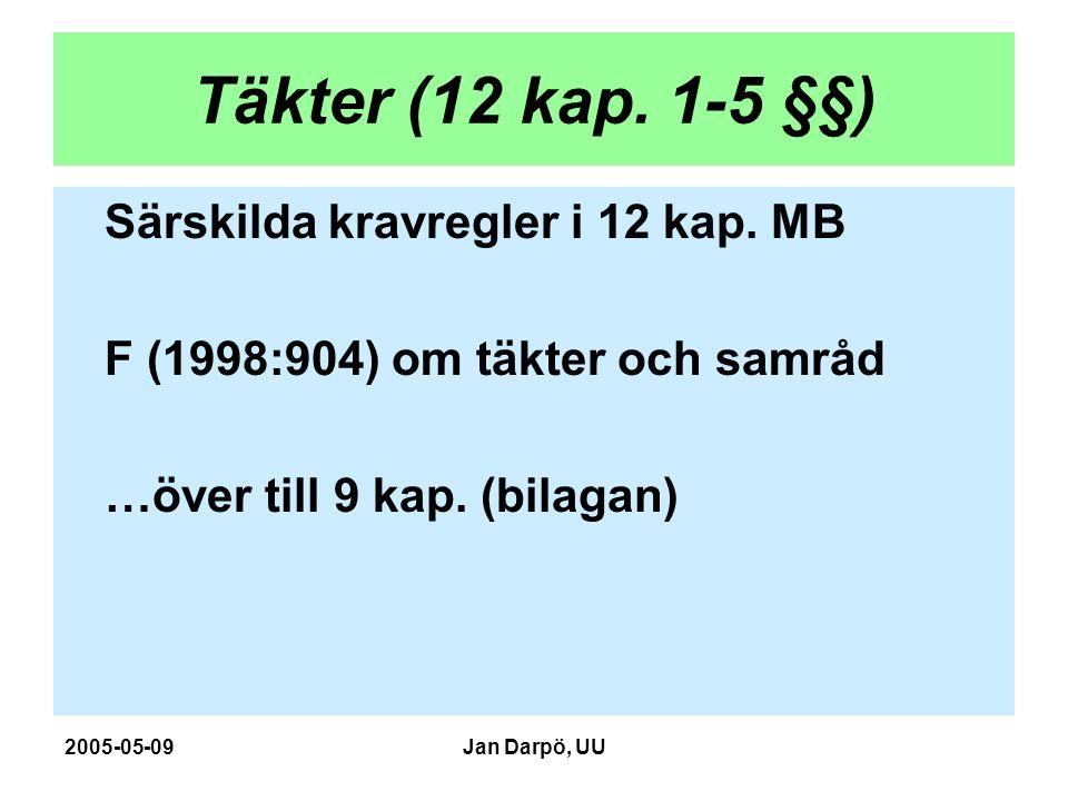 2005-05-09Jan Darpö, UU Täkter (12 kap. 1-5 §§) Särskilda kravregler i 12 kap. MB F (1998:904) om täkter och samråd …över till 9 kap. (bilagan)