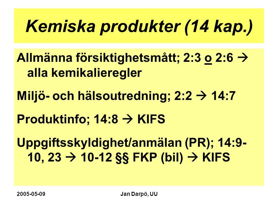 2005-05-09Jan Darpö, UU Kemiska produkter (14 kap.) Allmänna försiktighetsmått; 2:3 o 2:6  alla kemikalieregler Miljö- och hälsoutredning; 2:2  14:7 Produktinfo; 14:8  KIFS Uppgiftsskyldighet/anmälan (PR); 14:9- 10, 23  10-12 §§ FKP (bil)  KIFS