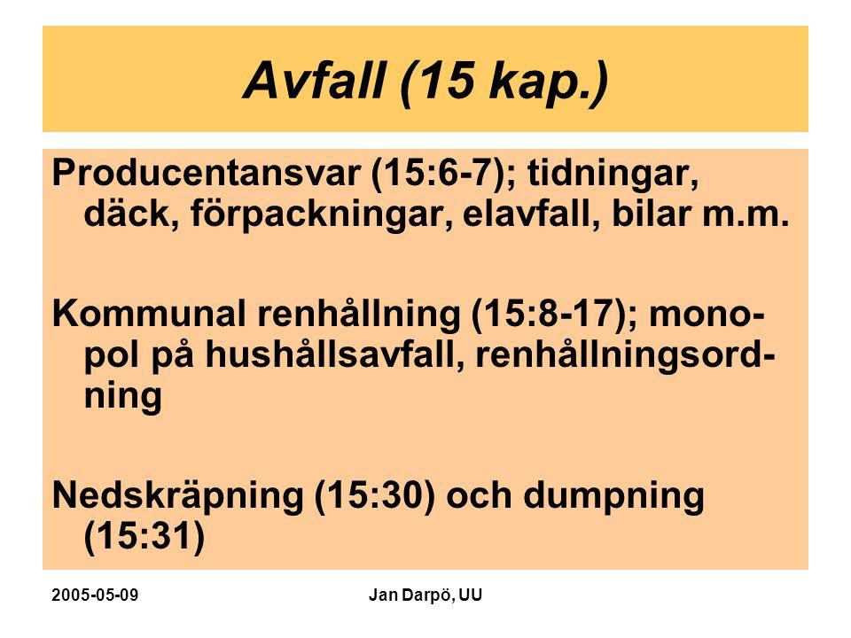 2005-05-09Jan Darpö, UU Avfall (15 kap.) Producentansvar (15:6-7); tidningar, däck, förpackningar, elavfall, bilar m.m. Kommunal renhållning (15:8-17)