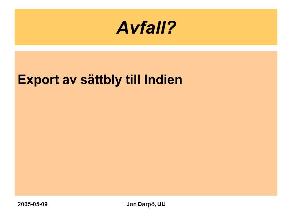 2005-05-09Jan Darpö, UU Avfall? Export av sättbly till Indien