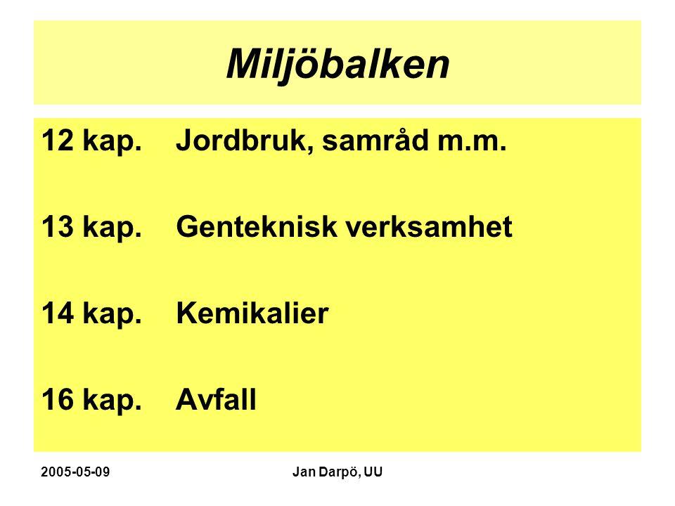 2005-05-09Jan Darpö, UU Miljöbalken 12 kap. Jordbruk, samråd m.m. 13 kap. Genteknisk verksamhet 14 kap. Kemikalier 16 kap. Avfall