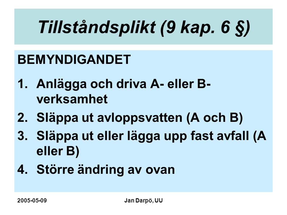 2005-05-09Jan Darpö, UU Tillståndsplikt (9 kap. 6 §) BEMYNDIGANDET 1.Anlägga och driva A- eller B- verksamhet 2.Släppa ut avloppsvatten (A och B) 3.Sl