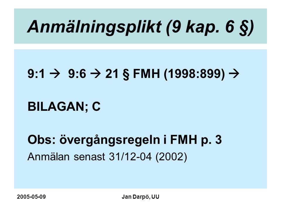 2005-05-09Jan Darpö, UU Anmälningsplikt (9 kap. 6 §) 9:1  9:6  21 § FMH (1998:899)  BILAGAN; C Obs: övergångsregeln i FMH p. 3 Anmälan senast 31/12
