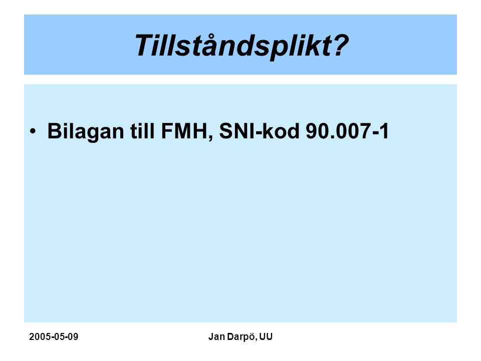 2005-05-09Jan Darpö, UU Tillståndsplikt? Bilagan till FMH, SNI-kod 90.007-1