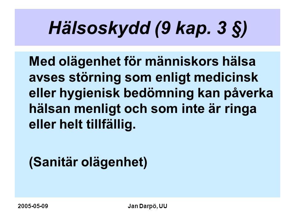 2005-05-09Jan Darpö, UU Hälsoskydd (9 kap. 3 §) Med olägenhet för människors hälsa avses störning som enligt medicinsk eller hygienisk bedömning kan p