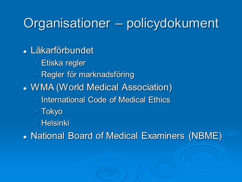 Organisationer – policydokument Läkarförbundet Läkarförbundet Etiska reglerEtiska regler Regler för marknadsföringRegler för marknadsföring WMA (World