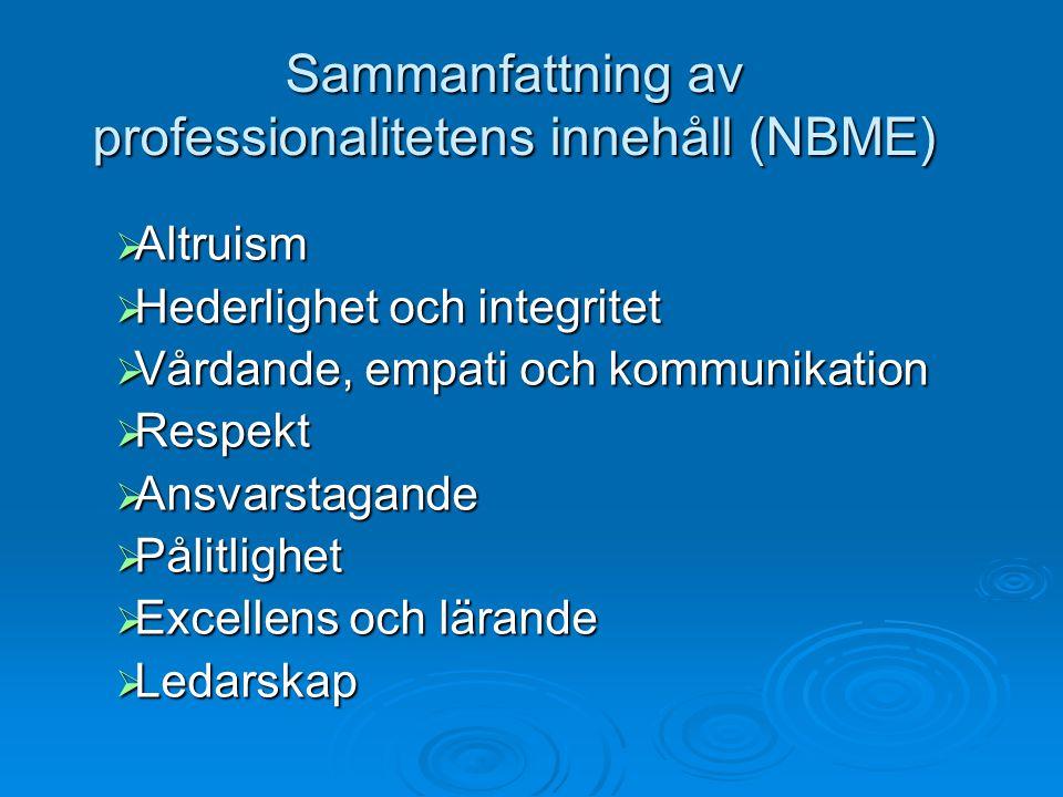 Sammanfattning av professionalitetens innehåll (NBME)  Altruism  Hederlighet och integritet  Vårdande, empati och kommunikation  Respekt  Ansvars
