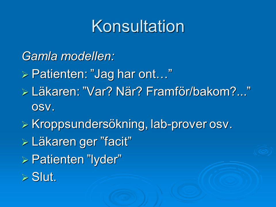 """Konsultation Gamla modellen:  Patienten: """"Jag har ont…""""  Läkaren: """"Var? När? Framför/bakom?..."""" osv.  Kroppsundersökning, lab-prover osv.  Läkaren"""