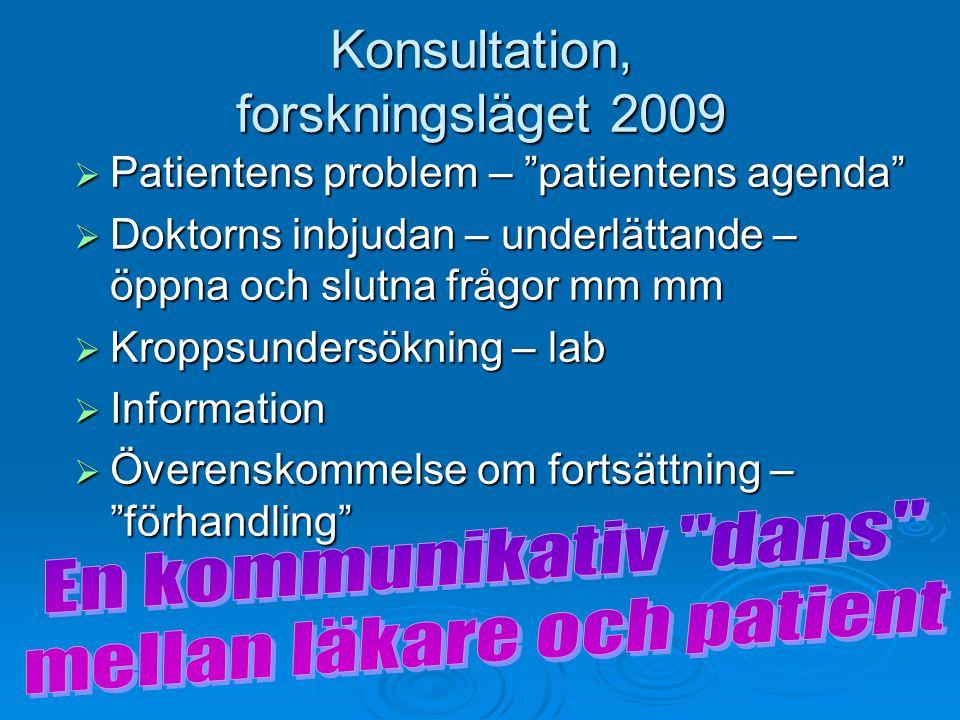 """Konsultation, forskningsläget 2009  Patientens problem – """"patientens agenda""""  Doktorns inbjudan – underlättande – öppna och slutna frågor mm mm  Kr"""