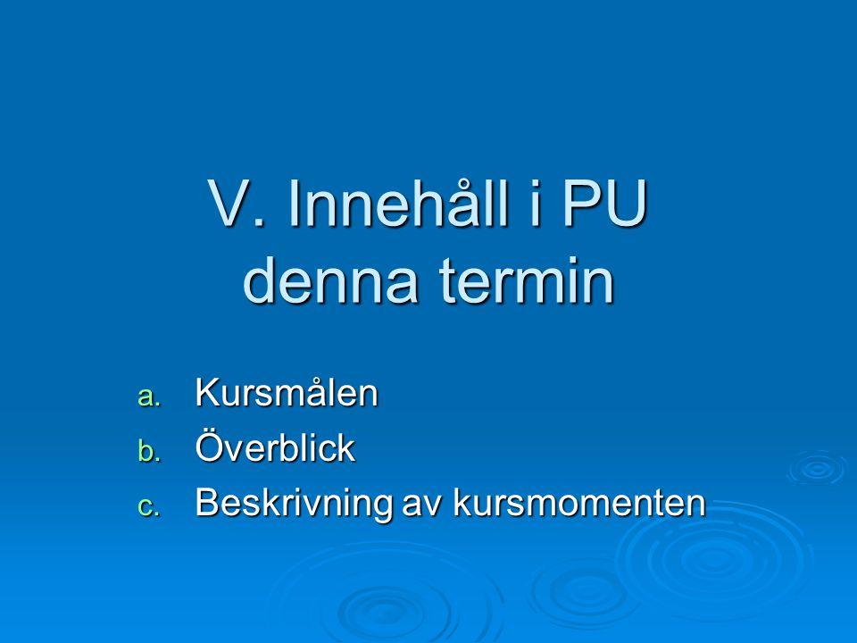 V. Innehåll i PU denna termin a. Kursmålen b. Överblick c. Beskrivning av kursmomenten