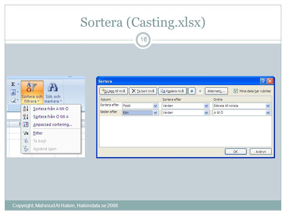 Sortera (Casting.xlsx) Copyright, Mahmud Al Hakim, Hakimdata.se 2008 16