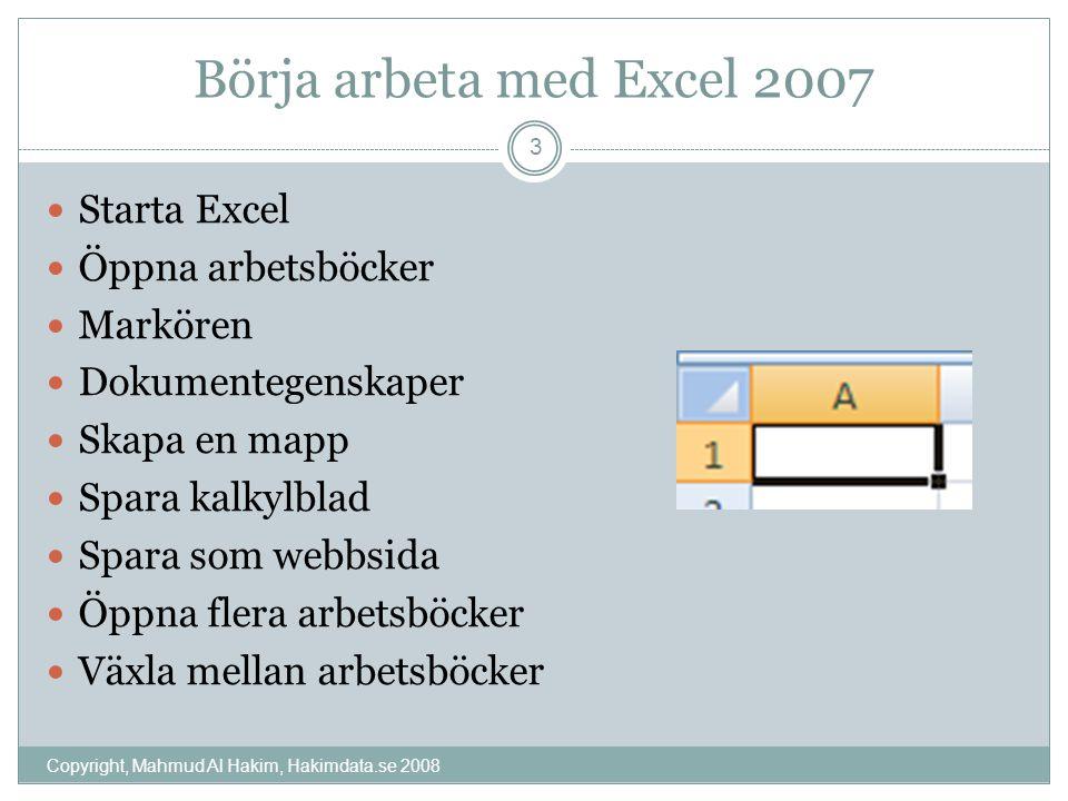 Skapa en ny arbetsbok, skriv och spara Copyright, Mahmud Al Hakim, Hakimdata.se 2008 4