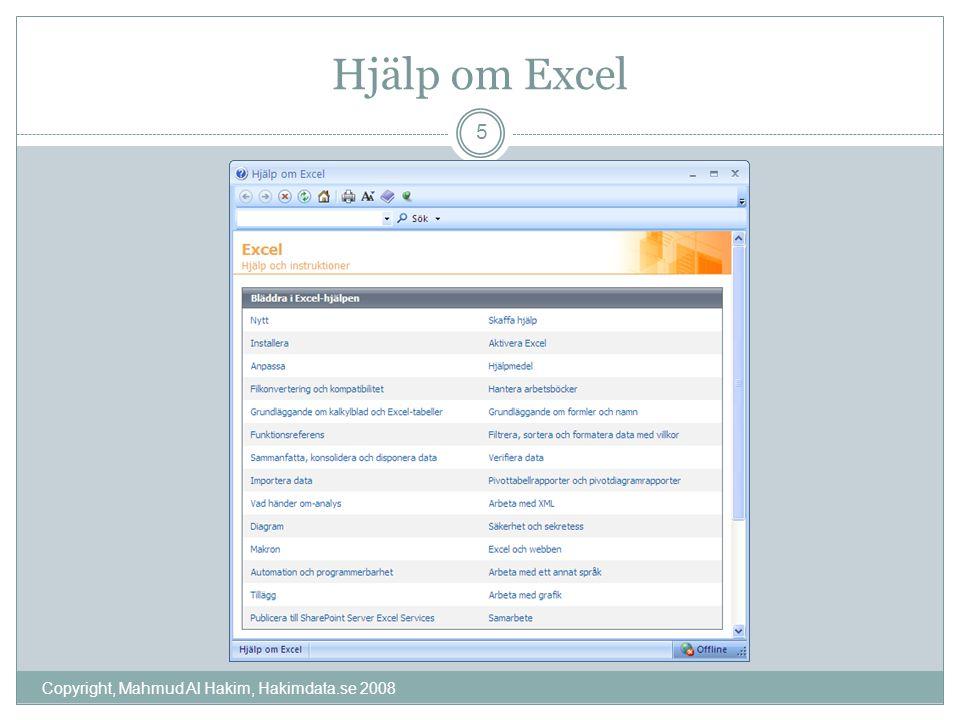Hjälp om Excel Copyright, Mahmud Al Hakim, Hakimdata.se 2008 5