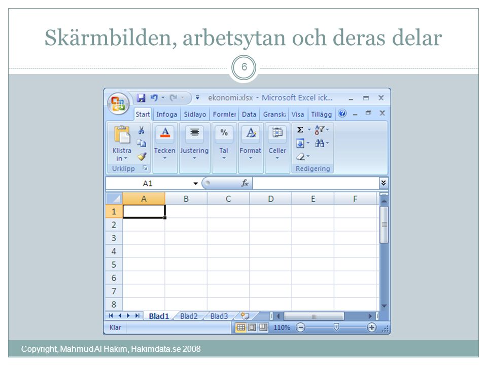 Skärmbilden, arbetsytan och deras delar Copyright, Mahmud Al Hakim, Hakimdata.se 2008 6