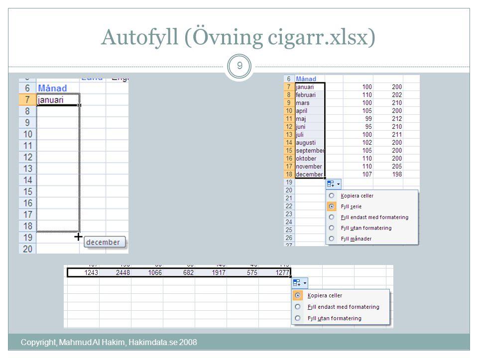 Autofyll (Övning cigarr.xlsx) Copyright, Mahmud Al Hakim, Hakimdata.se 2008 9