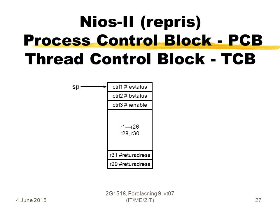 4 June 2015 2G1518, Föreläsning 9, vt07 (IT/ME/2IT)27 Nios-II (repris) Process Control Block - PCB Thread Control Block - TCB r1—r26 r28, r30 ctrl2 # bstatus sp r29 #returadress r31 #returadress ctrl3 # ienable ctrl1 # estatus