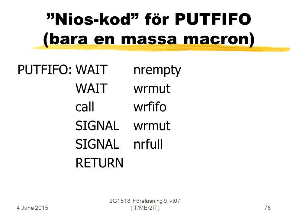 4 June 2015 2G1518, Föreläsning 9, vt07 (IT/ME/2IT)76 Nios-kod för PUTFIFO (bara en massa macron) PUTFIFO:WAITnrempty WAITwrmut callwrfifo SIGNALwrmut SIGNALnrfull RETURN