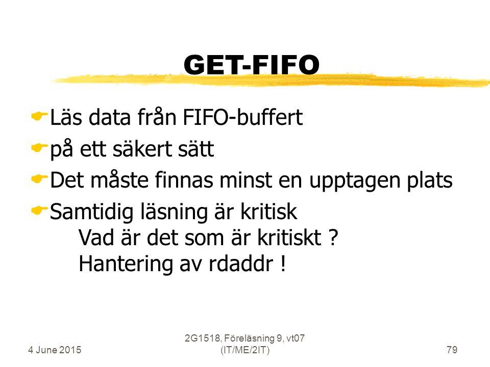 4 June 2015 2G1518, Föreläsning 9, vt07 (IT/ME/2IT)79 GET-FIFO  Läs data från FIFO-buffert  på ett säkert sätt  Det måste finnas minst en upptagen plats  Samtidig läsning är kritisk Vad är det som är kritiskt .