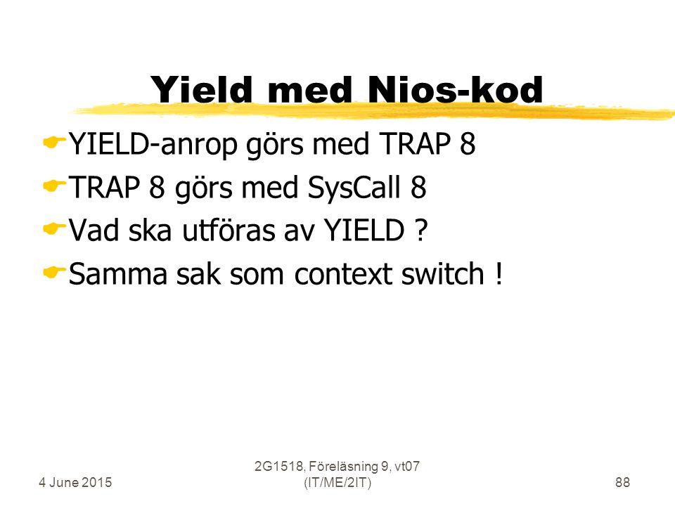 4 June 2015 2G1518, Föreläsning 9, vt07 (IT/ME/2IT)88 Yield med Nios-kod  YIELD-anrop görs med TRAP 8  TRAP 8 görs med SysCall 8  Vad ska utföras av YIELD .