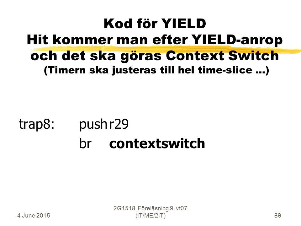 4 June 2015 2G1518, Föreläsning 9, vt07 (IT/ME/2IT)89 Kod för YIELD Hit kommer man efter YIELD-anrop och det ska göras Context Switch (Timern ska justeras till hel time-slice …) trap8: pushr29 brcontextswitch