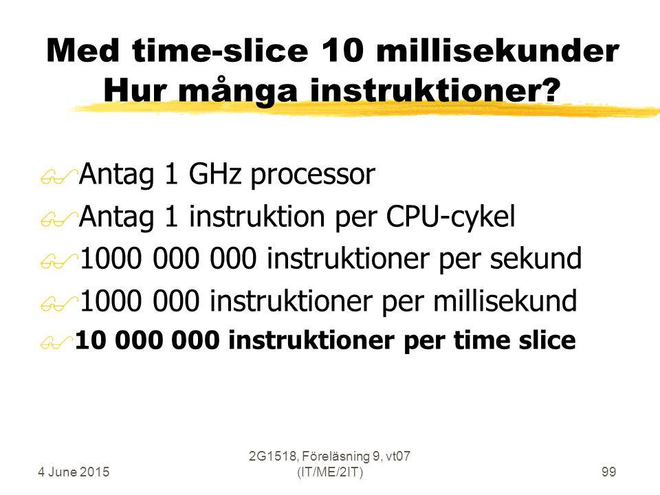 4 June 2015 2G1518, Föreläsning 9, vt07 (IT/ME/2IT)99 Med time-slice 10 millisekunder Hur många instruktioner.