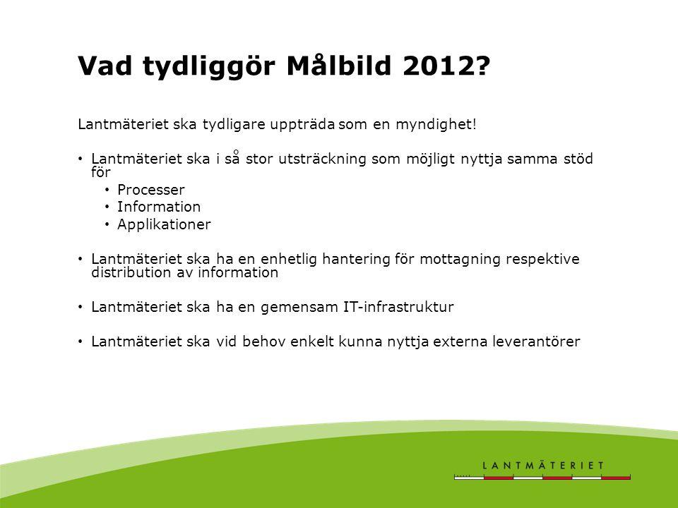 Vad tydliggör Målbild 2012? Lantmäteriet ska tydligare uppträda som en myndighet! Lantmäteriet ska i så stor utsträckning som möjligt nyttja samma stö