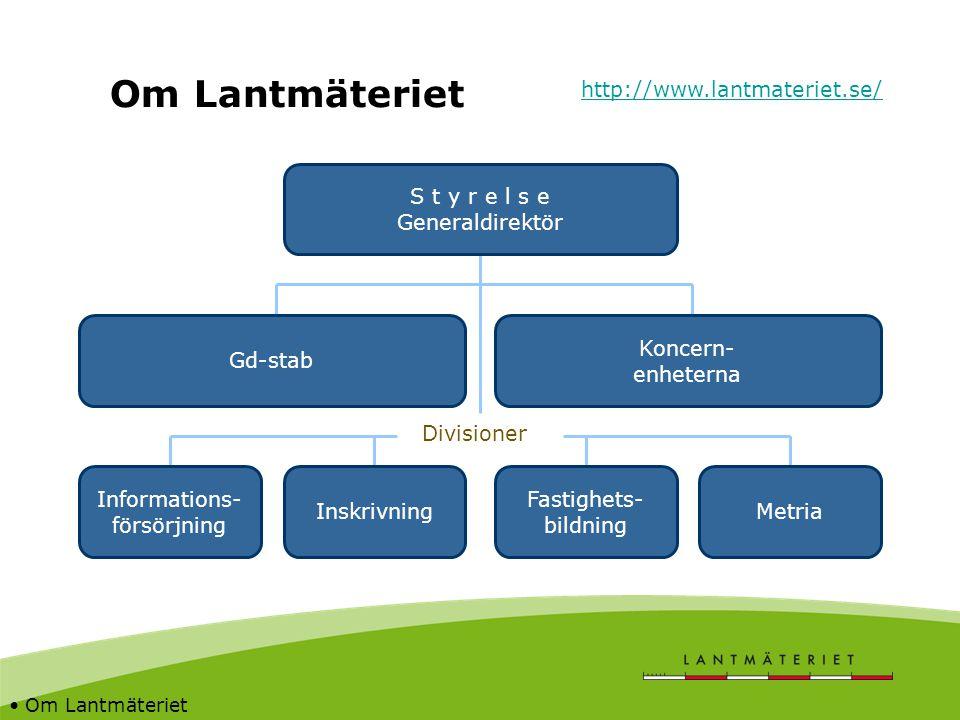 Om Lantmäteriet S t y r e l s e Generaldirektör Koncern- enheterna Gd-stab Divisioner Inskrivning Fastighets- bildning Metria Informations- försörjnin