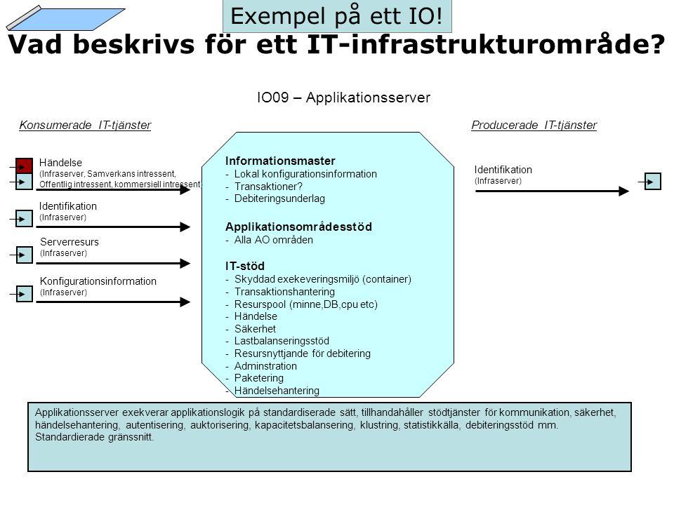 Vad beskrivs för ett IT-infrastrukturområde? IO09 – Applikationsserver Konsumerade IT-tjänsterProducerade IT-tjänster Informationsmaster -Lokal konfig