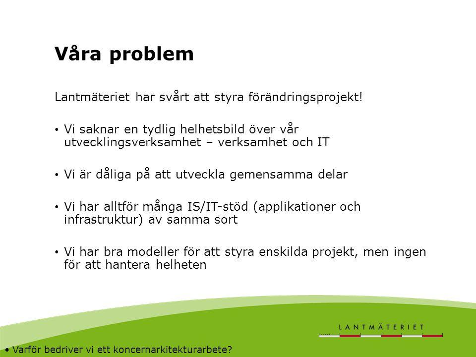 Våra problem Lantmäteriet har svårt att styra förändringsprojekt! Vi saknar en tydlig helhetsbild över vår utvecklingsverksamhet – verksamhet och IT V
