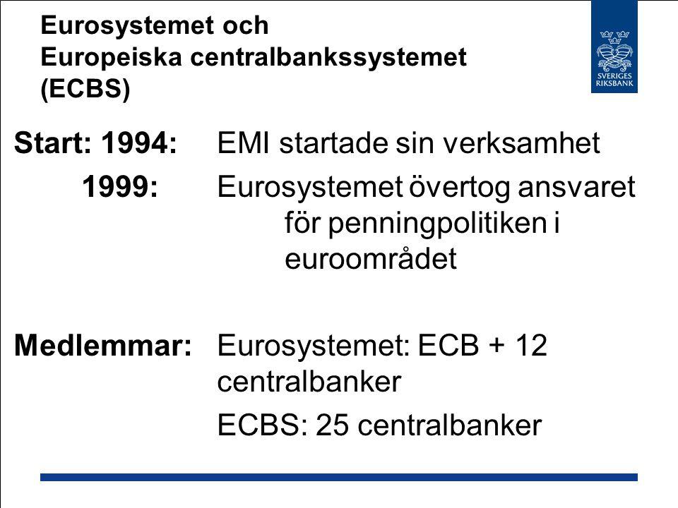 Eurosystemet och Europeiska centralbankssystemet (ECBS) Start: 1994: EMI startade sin verksamhet 1999:Eurosystemet övertog ansvaret för penningpolitiken i euroområdet Medlemmar: Eurosystemet: ECB + 12 centralbanker ECBS: 25 centralbanker