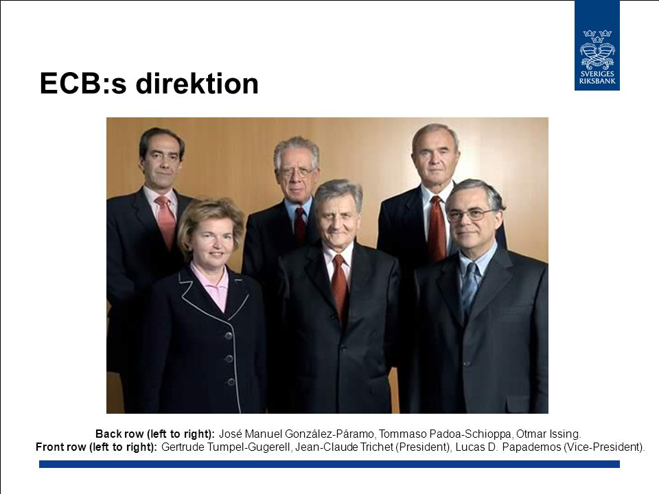 ECB:s direktion Back row (left to right): José Manuel González-Páramo, Tommaso Padoa-Schioppa, Otmar Issing.
