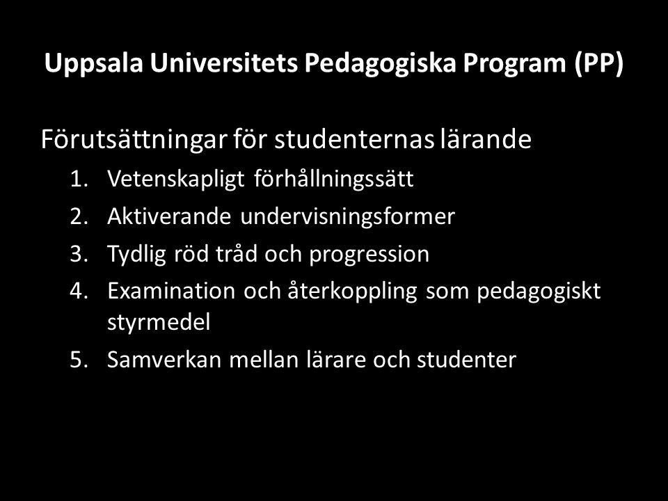 Uppsala Universitets Pedagogiska Program (PP) Förutsättningar för studenternas lärande 1.Vetenskapligt förhållningssätt 2.Aktiverande undervisningsformer 3.Tydlig röd tråd och progression 4.Examination och återkoppling som pedagogiskt styrmedel 5.Samverkan mellan lärare och studenter