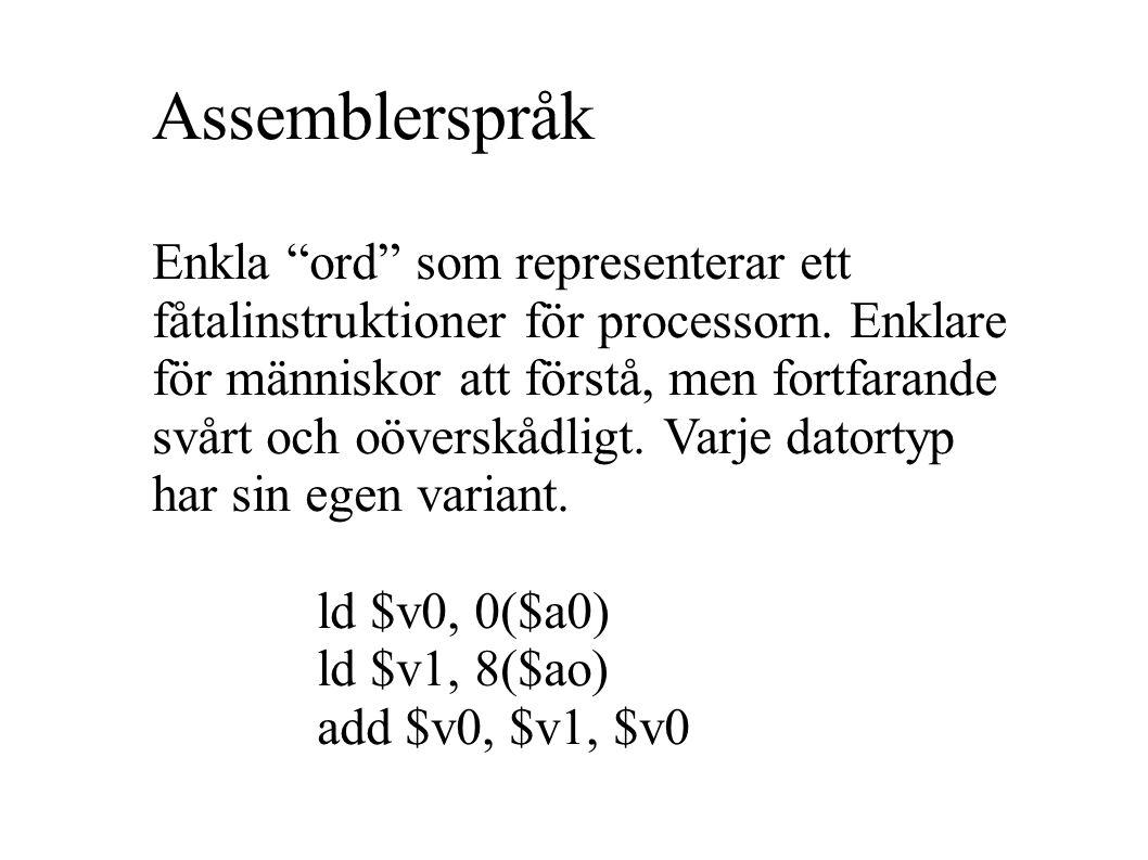 Assemblerspråk Enkla ord som representerar ett fåtalinstruktioner för processorn.