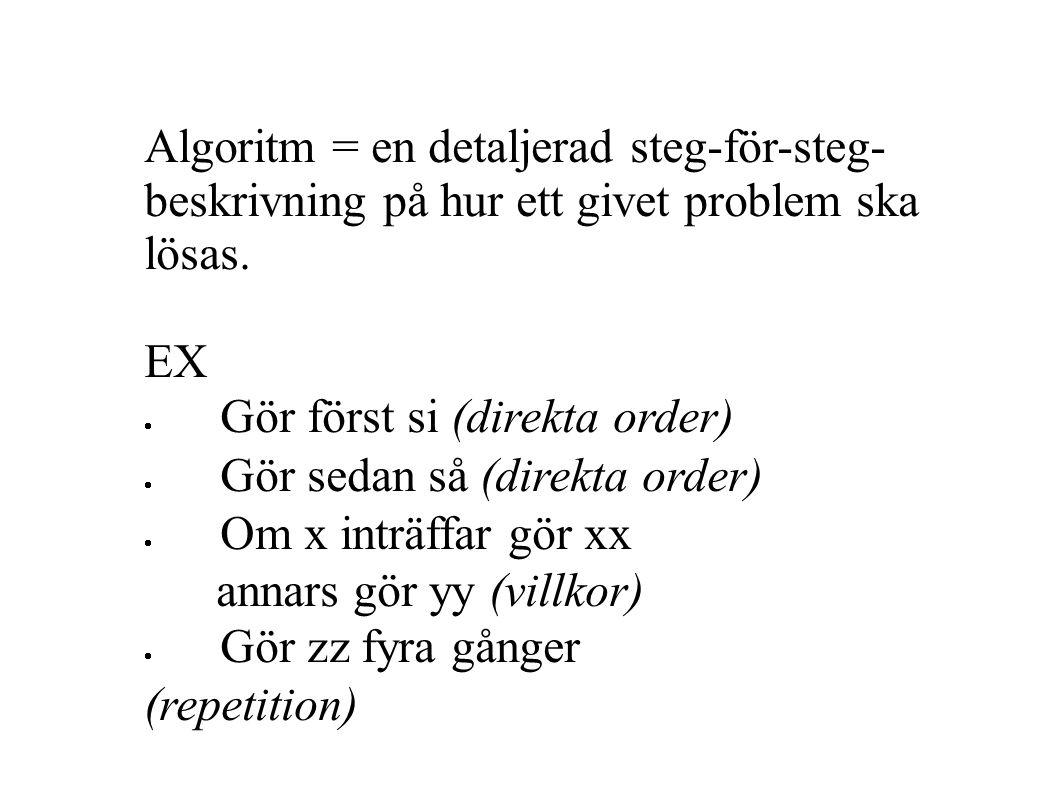 Algoritm = en detaljerad steg-för-steg- beskrivning på hur ett givet problem ska lösas.
