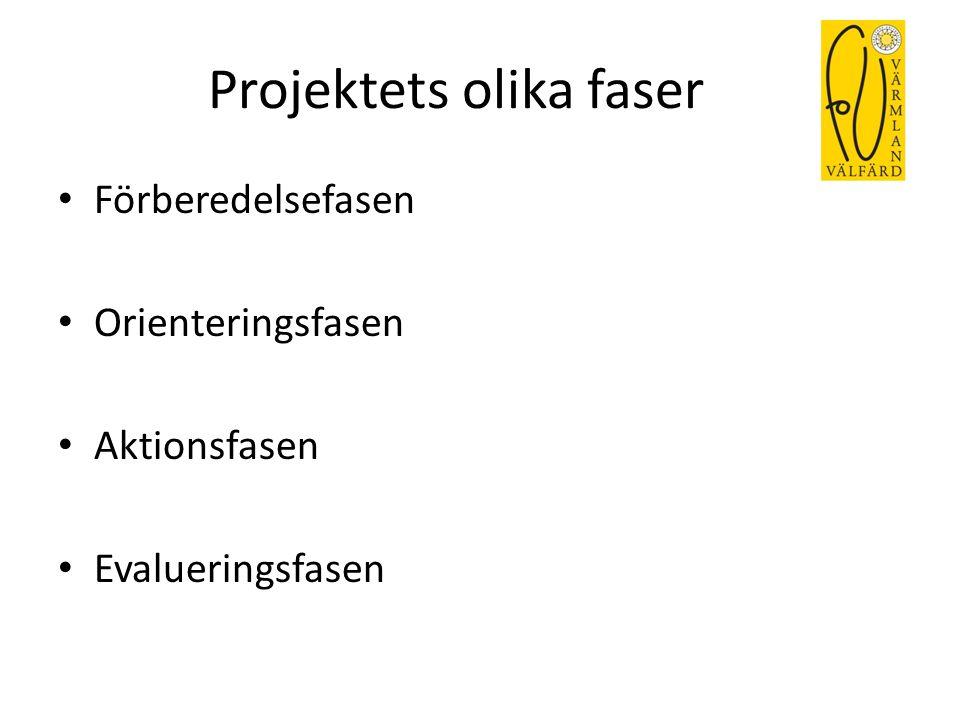 Projektets olika faser Förberedelsefasen Orienteringsfasen Aktionsfasen Evalueringsfasen