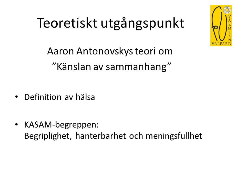 """Teoretiskt utgångspunkt Aaron Antonovskys teori om """"Känslan av sammanhang"""" Definition av hälsa KASAM-begreppen: Begriplighet, hanterbarhet och menings"""