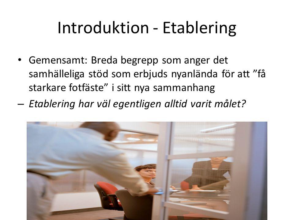 Introduktion - Etablering Gemensamt: Breda begrepp som anger det samhälleliga stöd som erbjuds nyanlända för att få starkare fotfäste i sitt nya sammanhang – Etablering har väl egentligen alltid varit målet?