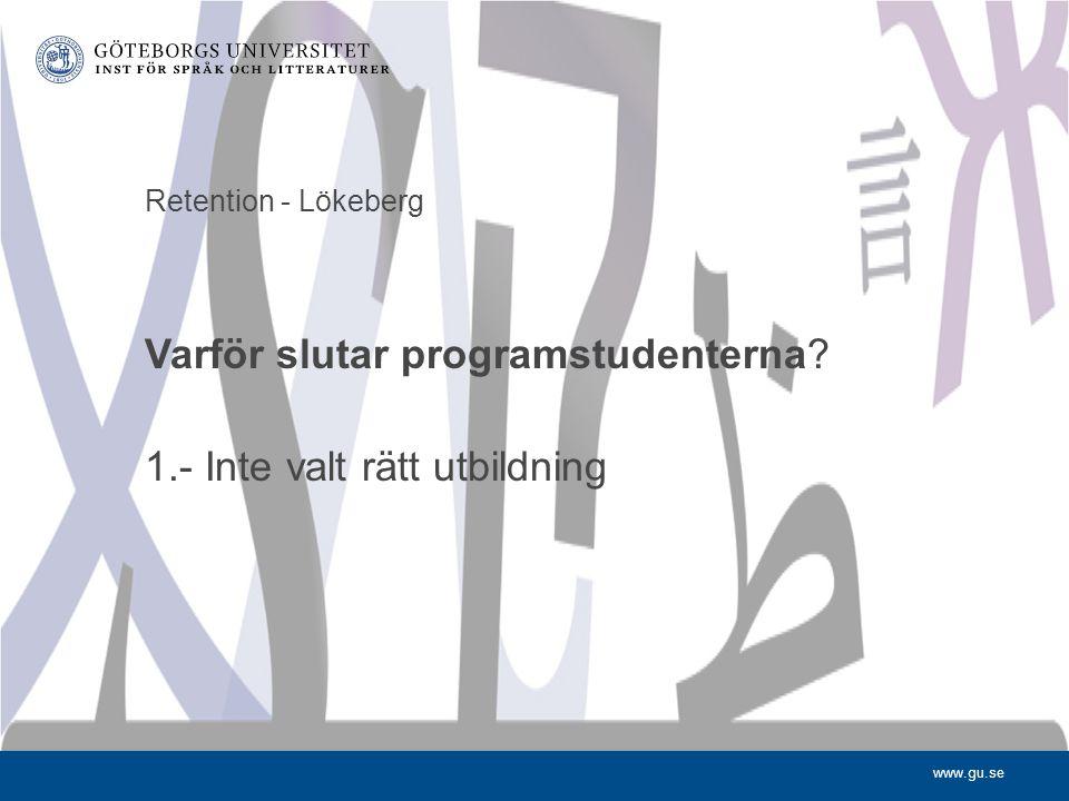 www.gu.se Retention - Lökeberg Varför slutar programstudenterna? 1.- Inte valt rätt utbildning