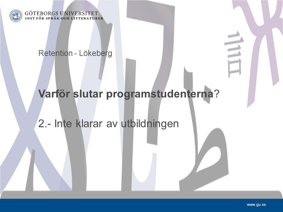 www.gu.se Retention - Lökeberg Varför slutar programstudenterna? 2.- Inte klarar av utbildningen