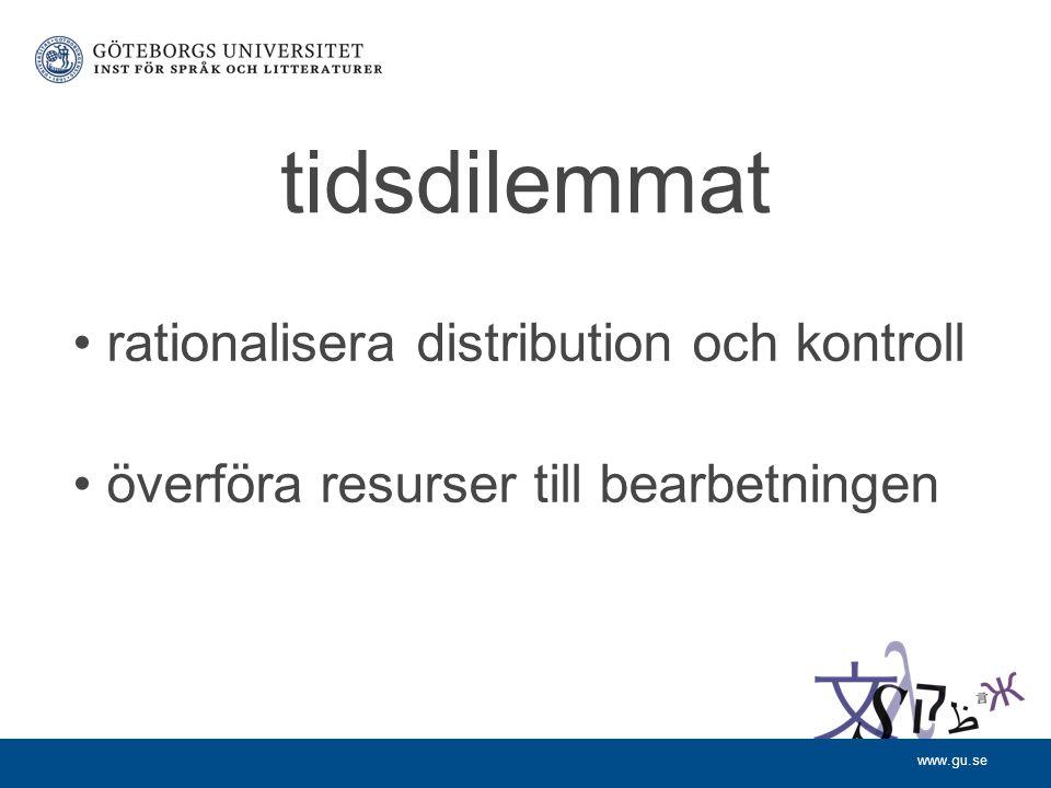 www.gu.se tidsdilemmat rationalisera distribution och kontroll överföra resurser till bearbetningen